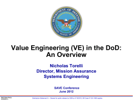Keynote Address - VE in the DoD Overview by Nick Torelli, OSD