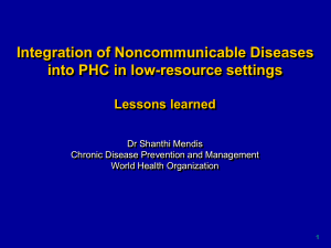 Integration of Noncommunicable Diseases into PHC in low-resource settings Lessons learned