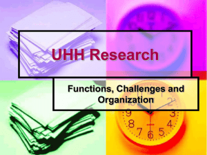 UHH Research: Functions, Challenges and Organization 2004