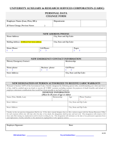 UNIVERSITY AUXILIARY & RESEARCH SERVICES CORPORATION (UARSC) PERSONAL DATA CHANGE FORM