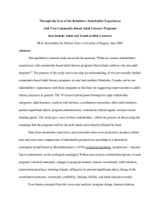 Through the Eyes of the Beholders: Stakeholder Experiences with Two Community-Based Adult Literacy Programs that Include Adult and Youth-at-Risk Learners