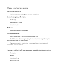 Syllabus template (course title) Instructor Information Course Description/Information
