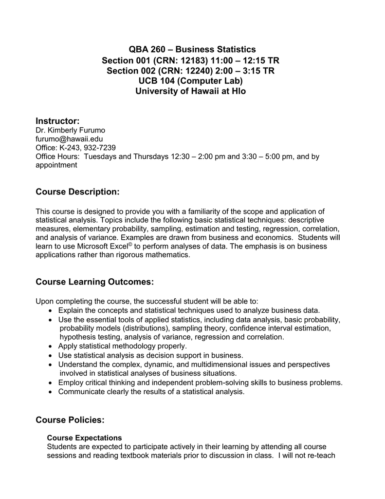 Business Statistics QBA 260 – 12:15 TR Section 001 (CRN
