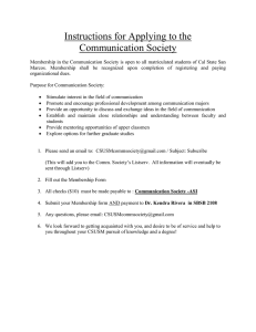 Instructions for Applying to the Communication Society