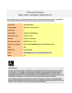 Bio 1407 - General Bio 2 - sec 45191 - Syllabus - Summer II, 2013 - Andrew Evans - HCC Katy.doc