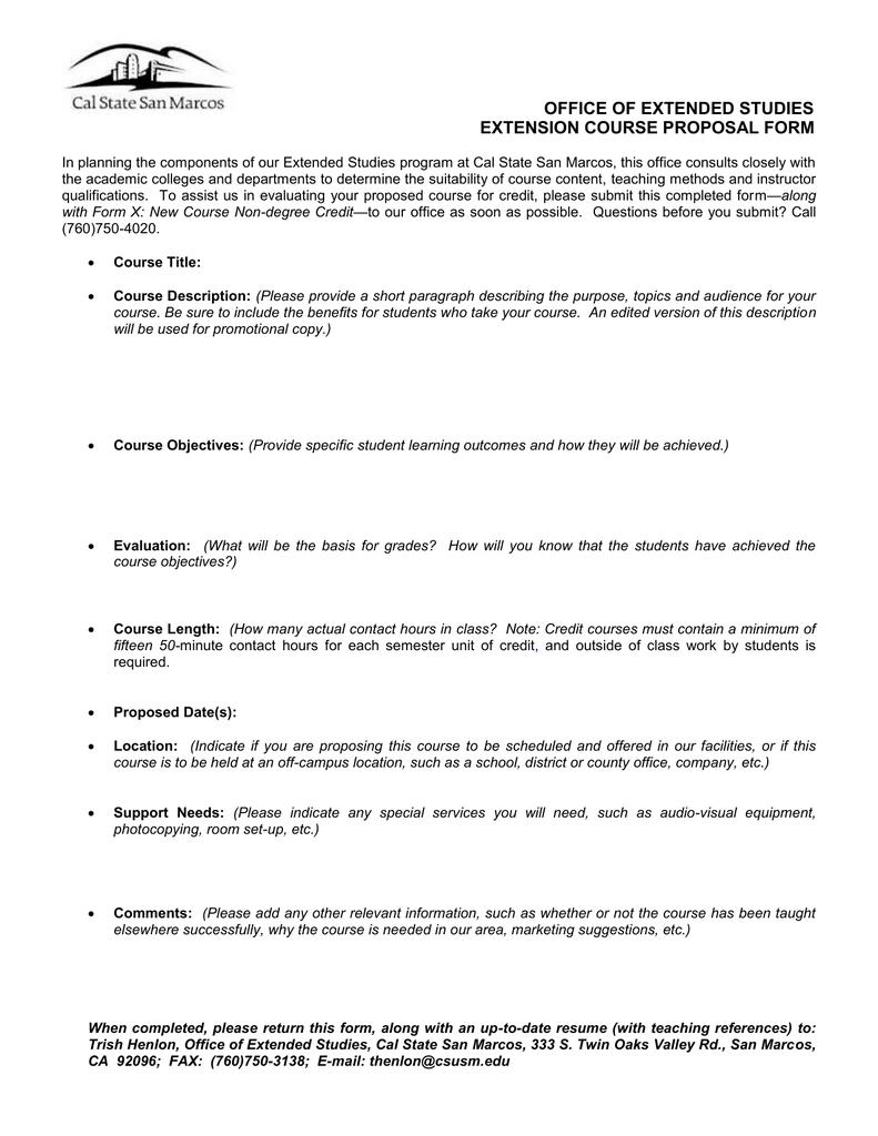 Extension Course Proposal Form