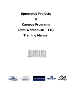 Sponsored Projects Campus Programs Data Warehouse 11G Training