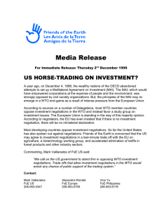 Media Release US HORSE-TRADING ON INVESTMENT?