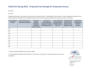 CALM CFP Spring 2016   Projected Cost Savings for...