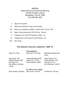 AGENDA Special Executive Committee Meeting CSUSM Academic Senate Wednesday, July 29, 2009