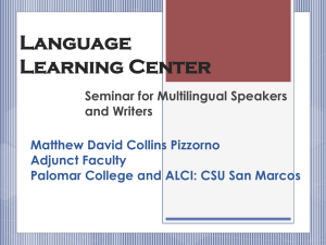 Language Learning Center Seminar for Multilingual Speakers and Writers