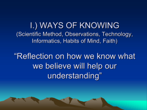 "I.) WAYS OF KNOWING ""Reflection on how we know what understanding"""