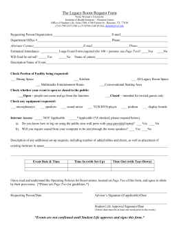 Legacy Room Request Form