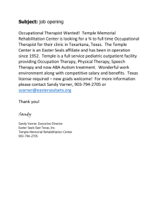Subject:  Occupational Therapist Wanted!  Temple Memorial
