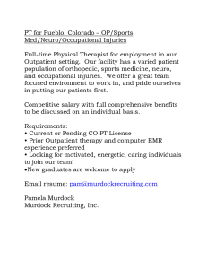 PT for Pueblo, Colorado – OP/Sports Med/Neuro/Occupational Injuries