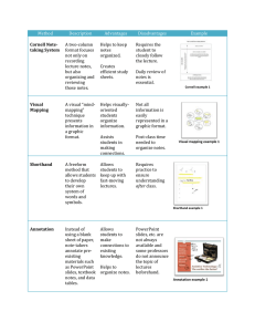 Cornell Note- taking System A two-column