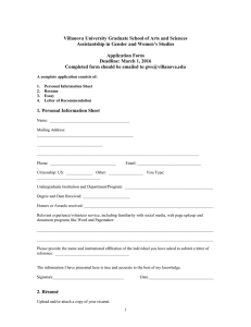 Villanova University Graduate School of Arts and Sciences Application Form