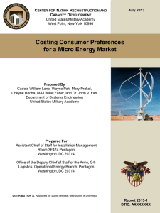 Costing Consumer Preferences for a Micro Energy Market C N