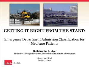 Getting it Right from the Start: Emergency Department Admission Classification for Medicare Patients