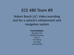 ECE 480 Team #9 Robert Bosch LLC: Video recording navigation system