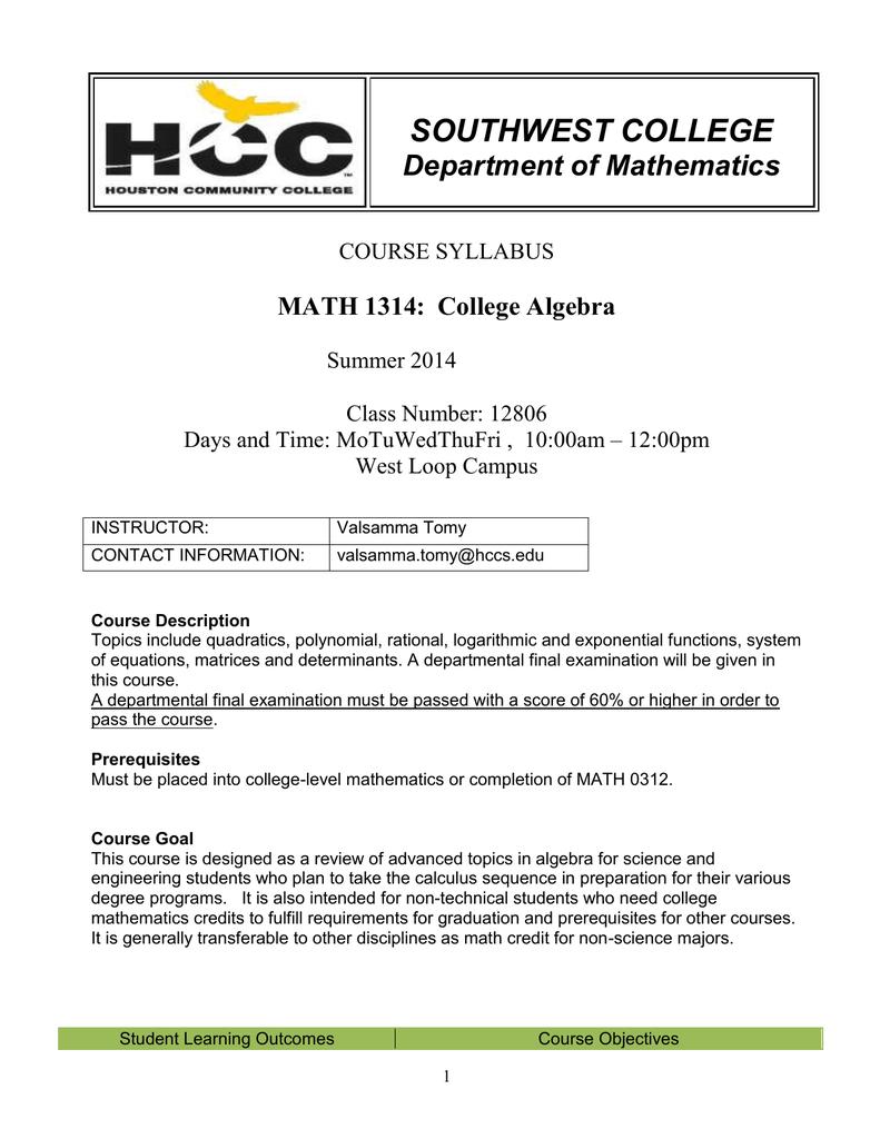 Math 1314, CRN # 12806 , College Algebra.doc