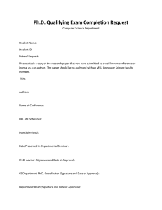 Ph.D. Qualifying Exam Completion Request