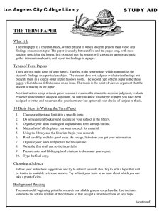 STUDY AID Los Angeles City College Library THE TERM PAPER