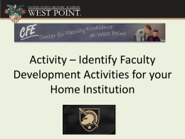 Activity – Identify Faculty Development Activities for your Home Institution