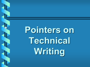 Tech Writing Pointers