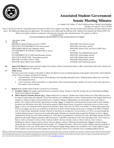 Associated Student Government Senate Meeting Minutes