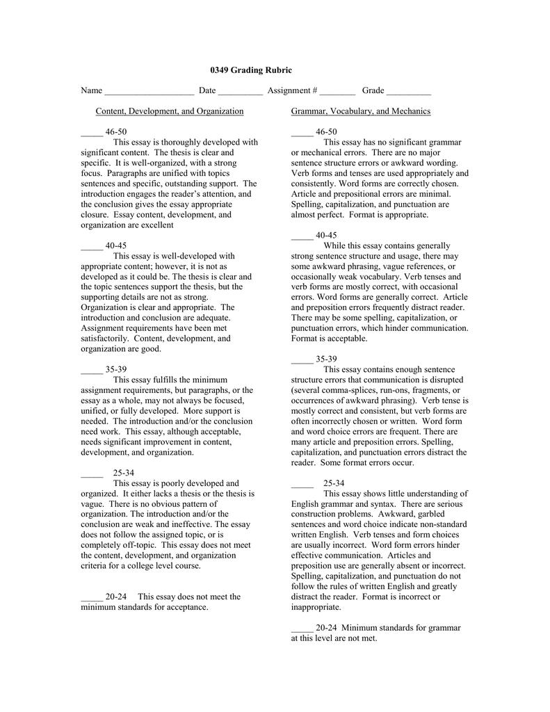 essay rubric doc
