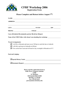 CFRF Workshop 2006 Registration Form  Please Complete and Return before August 7