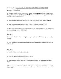 Optional report sheet for Experiment 1: graphing