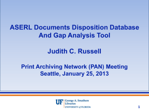 ASERL Documents Disposition Database and Gap Analysis Tool