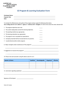 Program Learning Evaluation Form