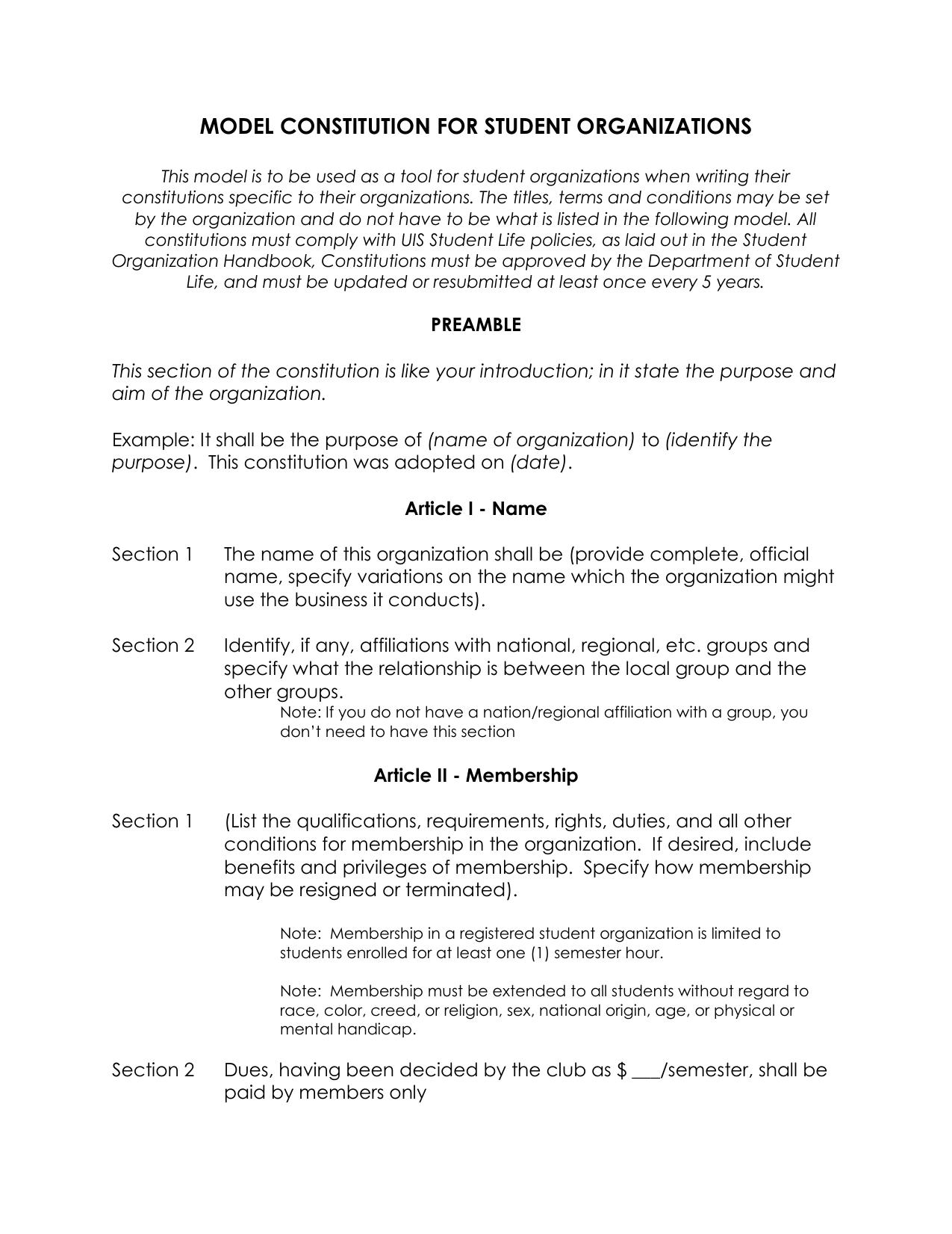 Student organization model constitution doc wajeb Choice Image