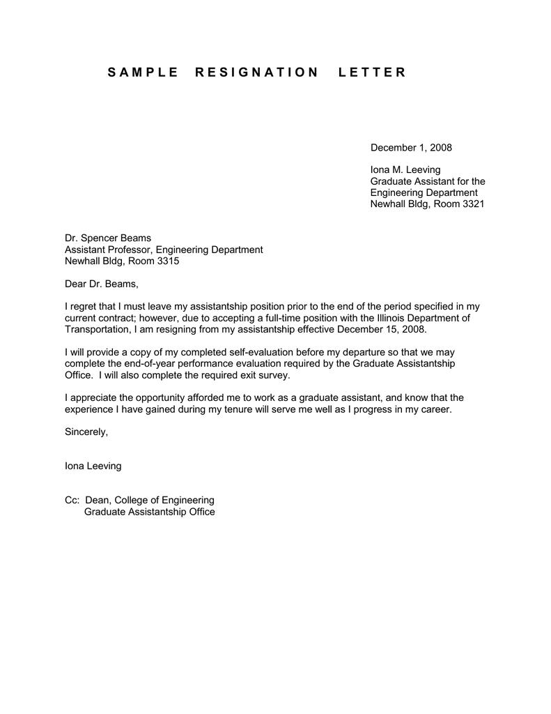 resignation letter sample for assistant professor