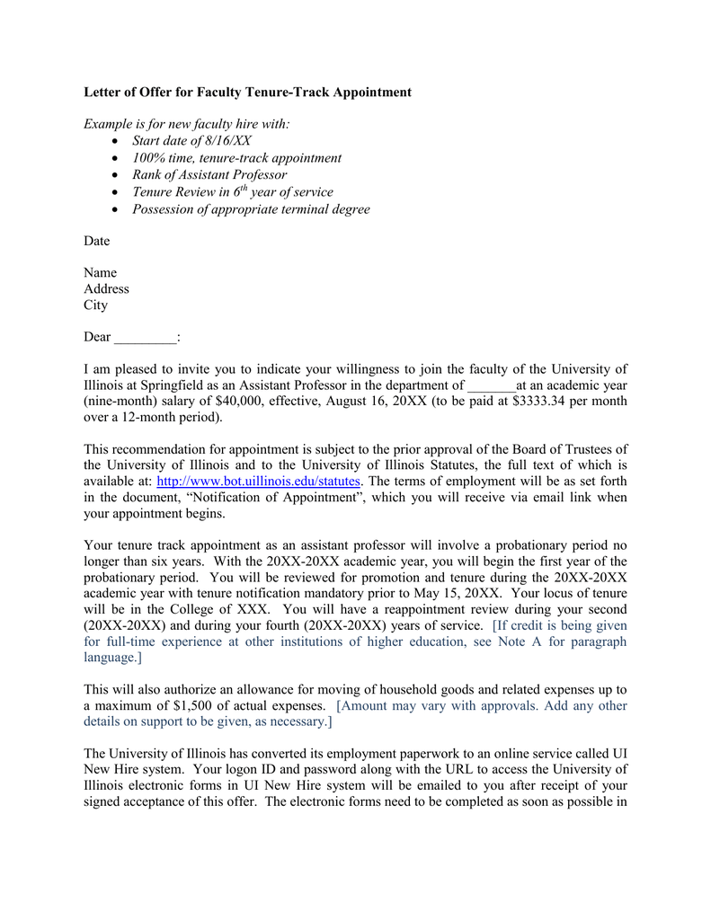 Letter Of Offer For Faculty Tenure Track Appointment Revised 11 19 15