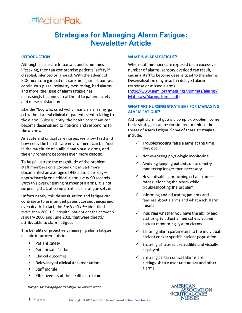 Newsletter Article Sample: Strategies for Managing Alarm Fatigue