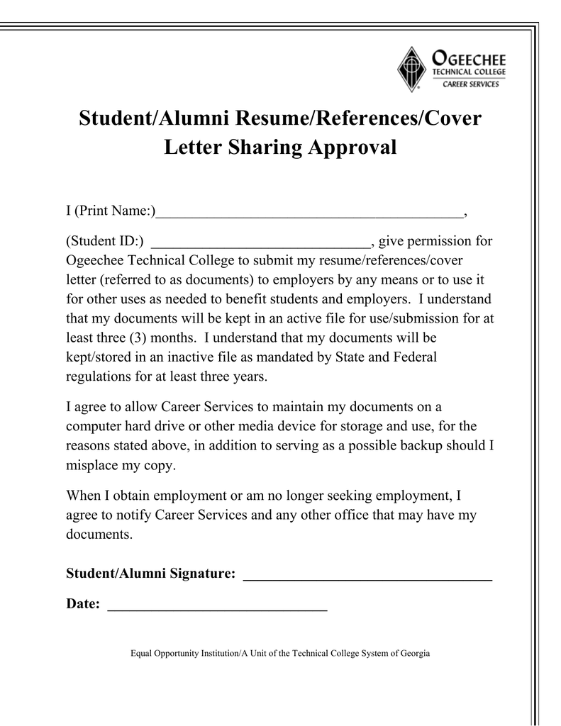 student  alumni resume  references  cover letter sharing approval