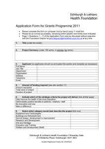 application form for the Grants Programme