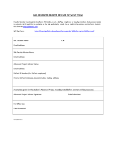 BAC ADVANCED PROJECT ADVISOR PAYMENT FORM