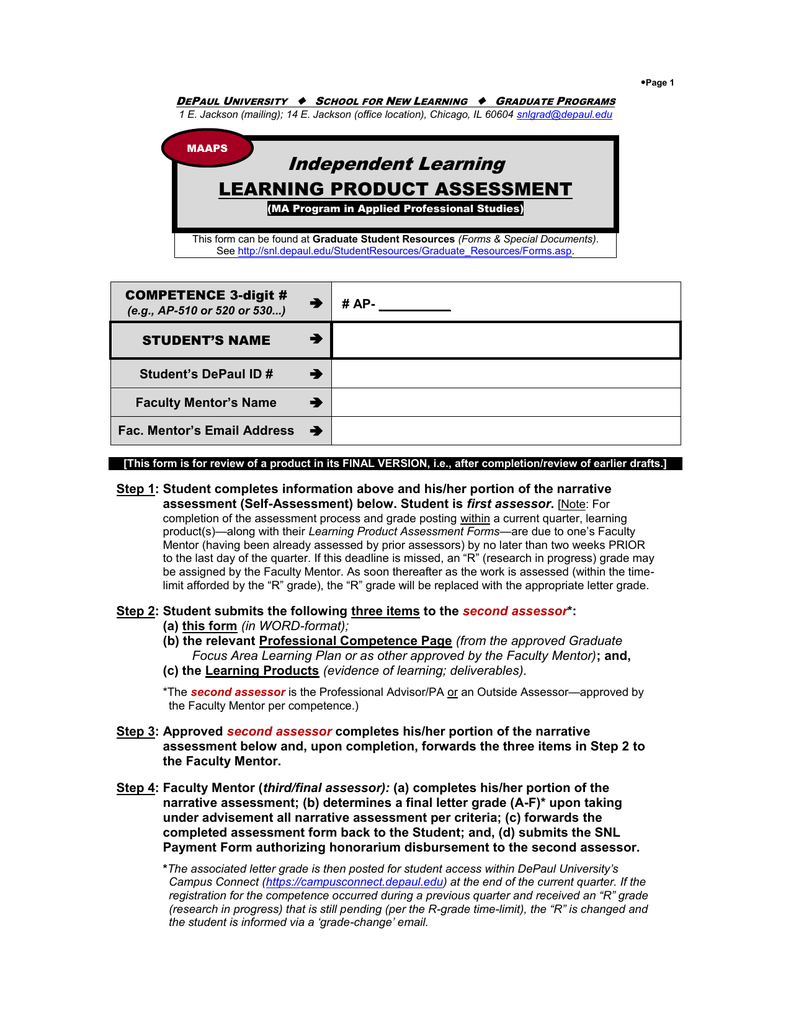 Learning Product Assessment Form