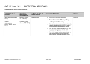 CMT 13 June  2011 INSTITUTIONAL APPROVALS th