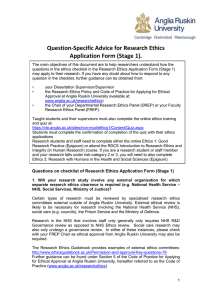 Question-Specific Advice for Research Ethics Application Form (Stage 1)
