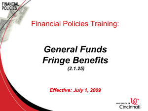 General Funds Fringe Benefits