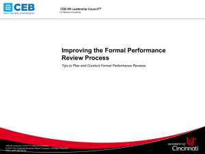 Improving the Formal Performance Review Process CEB HR Leadership Council