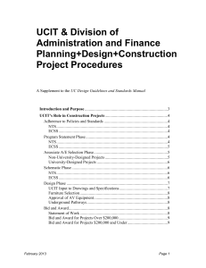 UCIT Division of Administration and Finance Planning, Design, Construction Project Procedures