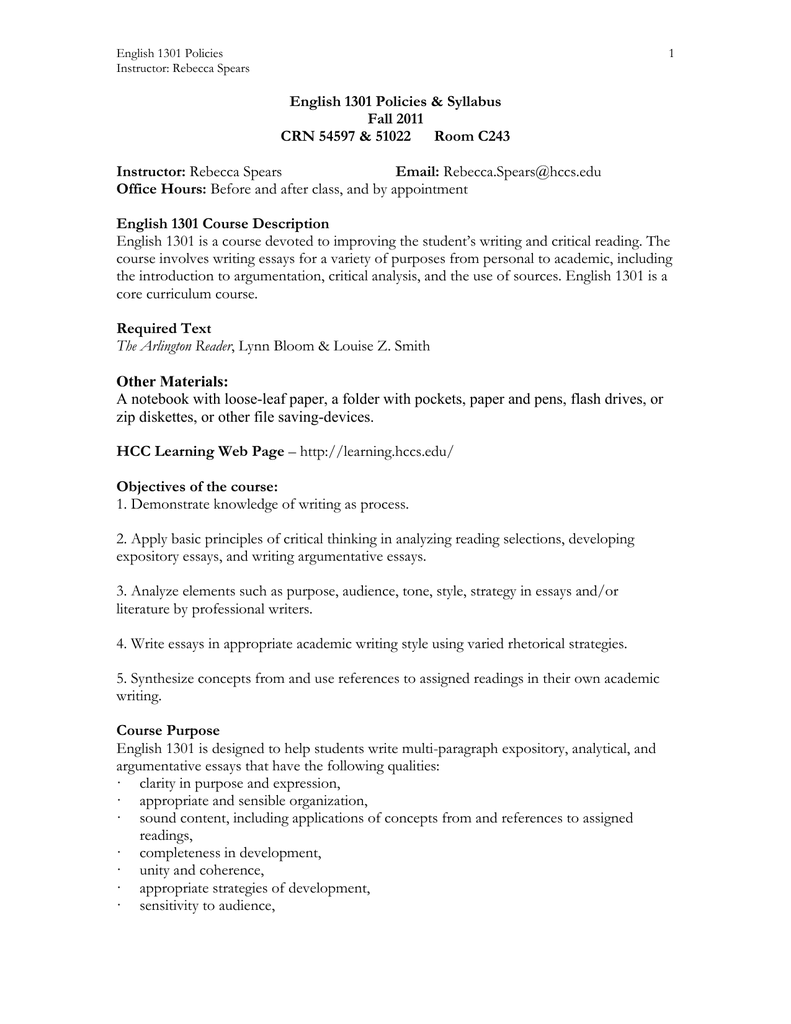 English 1301 Policies Syllabus.doc