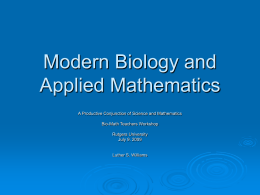 Modern Biology and Applied Mathematics